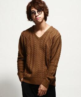 V領毛衣CAMEL