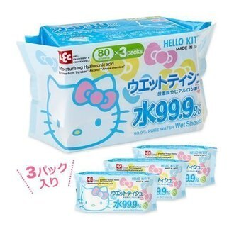 *新品上市*【日本製】HELLO KITTY 99.9%純水 80抽 濕紙巾補充包 (一袋3入組)