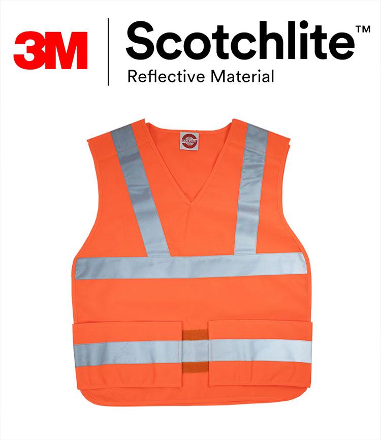 螢橘安全黏貼式反光背心 3M Scotchlite反光