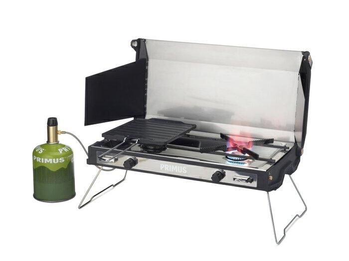 【露營趣】中和 瑞典 PRIMUS 350120 Tupike 豪華木質雙口爐(附不沾烤盤) 便攜瓦斯雙口爐 烤肉爐 瓦斯雙爐 露營 野餐 燒烤