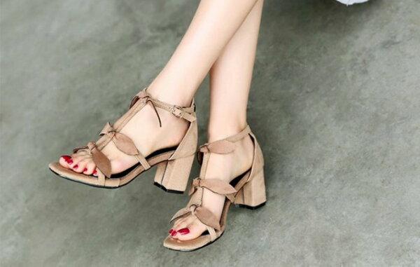 Pyf♥優雅風三細帶立體蝴蝶結繫踝方頭絨面低跟涼鞋42大尺碼女鞋