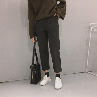 50^%OFF SHOP~G022122P~ 顯瘦純色錐形休閒呢料八分西裝褲彈力直筒褲靴褲