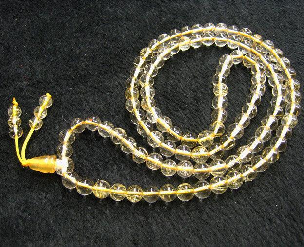飾品水晶髮晶手鏈金髮晶佛珠手鏈 6mm108粒項鏈