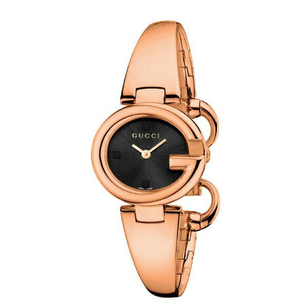 Gucci YA134509玫瑰金經典G型手環時尚腕錶/黑面27mm