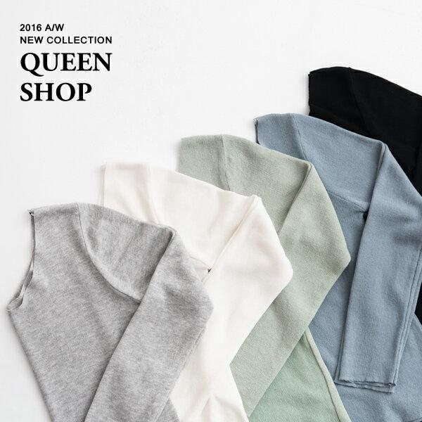 Queen Shop~01011886~前後V領微透合身針織衫 五色售~  ~ ~  好康