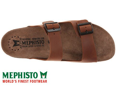 Mephisto 法國類勃肯皮革休閒涼拖鞋 咖啡 4