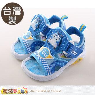 男童涼鞋 台灣製POLI正版閃燈運動涼鞋 魔法Baby~sa61106