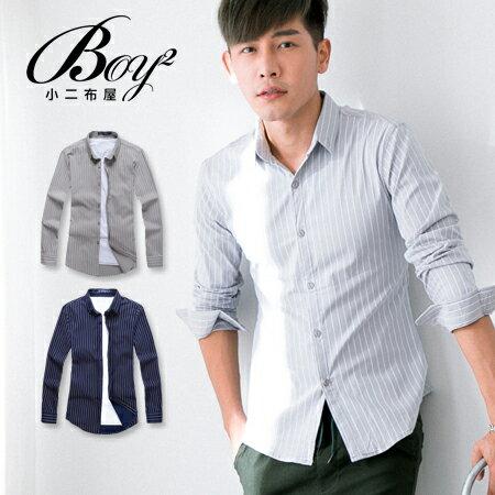 ☆BOY-2☆【NR92012】紳士修身直條紋長袖襯衫 0