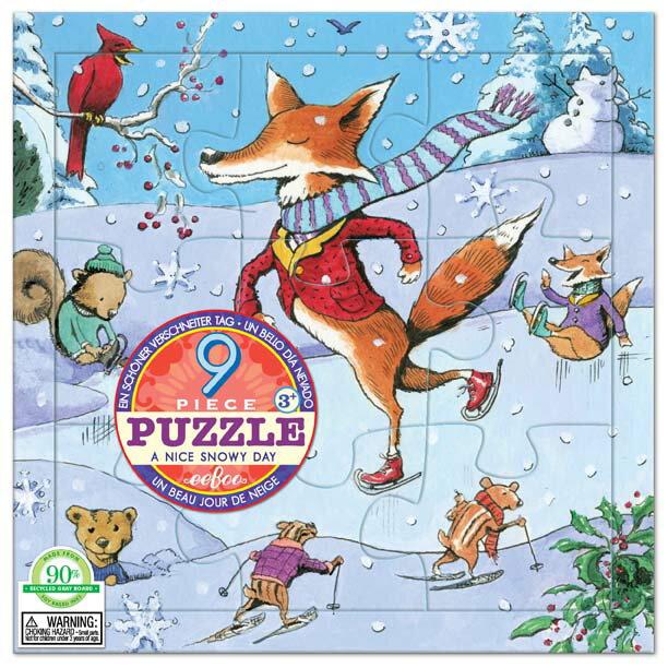 [ eeBoo ]  拼圖 —  滑冰樂 9片  (Nice Snowy Day 9 Piece Puzzle)