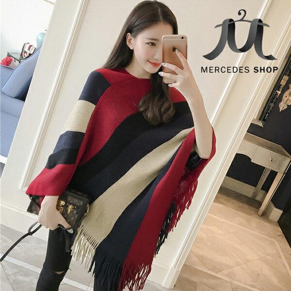 《全店75折》限時特價 兩穿式圍巾流蘇蝙蝠衫針織條紋披肩外套(3色) - 梅西蒂絲(現貨+預購) 0