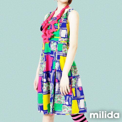 【Milida,全店七折免運】-春夏商品-無袖款-縮腰拉鍊洋裝 2