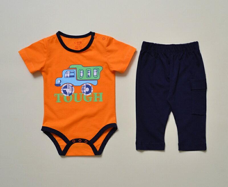 ☆傑媽童裝☆LBB橘底大貨車包屁衣+長褲套裝組(87744-1)