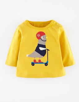☆傑媽童裝☆LBB黃底滑板車肩扣款毛圈長袖上衣【71859-5】