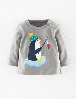 ☆傑媽童裝☆LBB灰底企鵝釣魚肩扣款毛圈長袖上衣【71859-6】