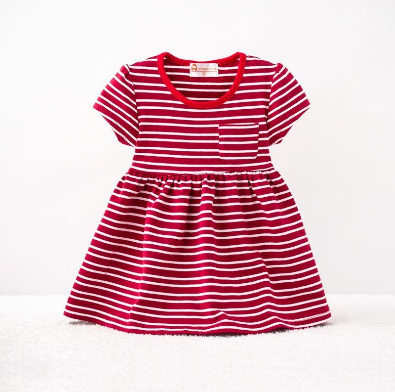 ☆傑媽童裝☆LBB純棉小童舒適洋裝~紅條紋【54881-2】