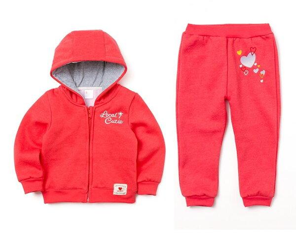 童裝現貨小女生愛心繡花刷毛外套+長褲套裝組-大紅色【14971-1】