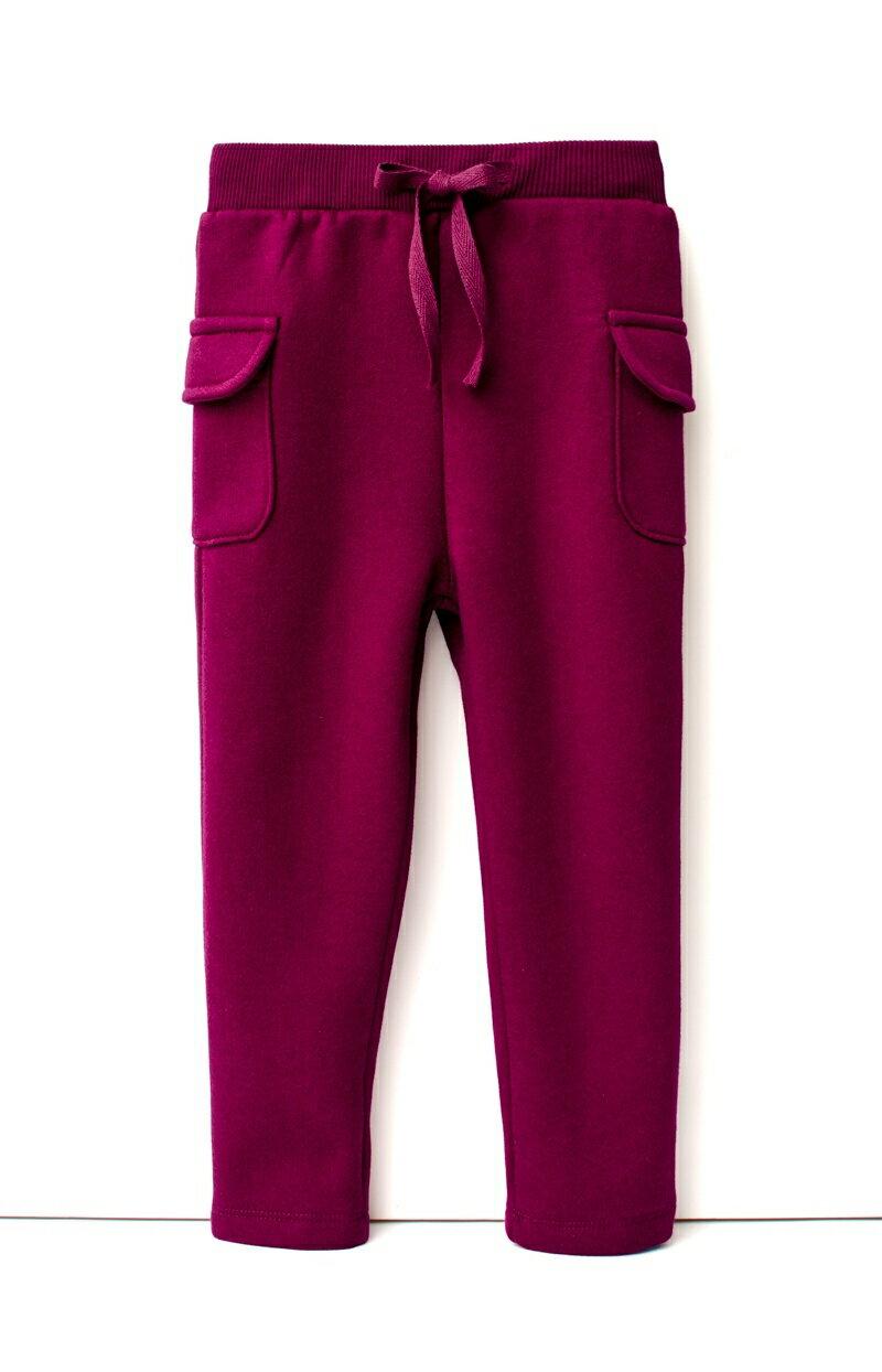 ☆傑媽童裝☆雙口袋冬季保暖刷毛長褲-暗紅色【27975-4】