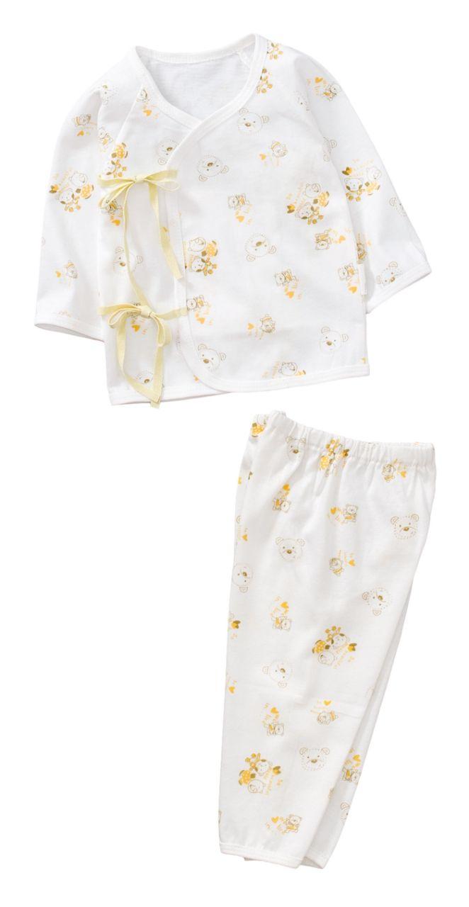 ~傑媽 ~純棉小寶寶白底側開上衣 長褲套裝組~黃色~60002~2~