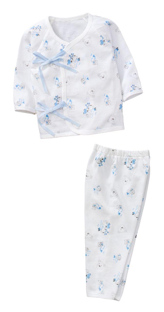~傑媽 ~純棉小寶寶白底側開上衣 長褲套裝組~藍色~60002~3~
