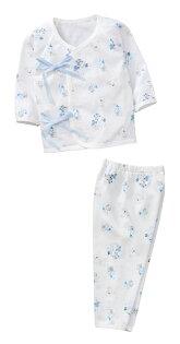 童裝現貨純棉小寶寶白底側開上衣+長褲套裝組-藍色【60002-3】