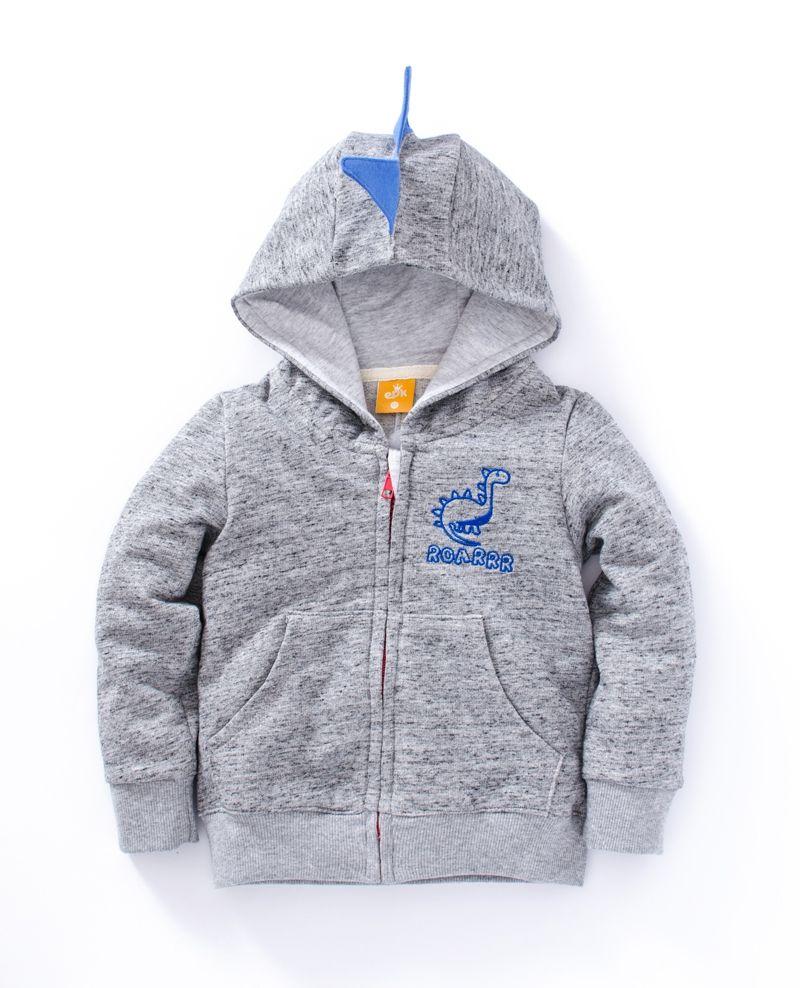 ☆傑媽童裝☆恐龍造型毛圈保暖外套-深灰色【71944-2】