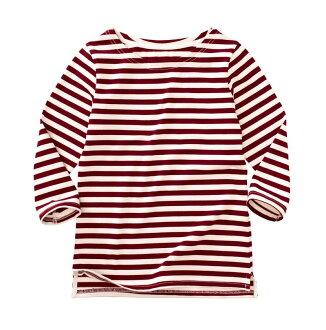 ☆傑媽童裝☆新疆厚棉千趣會條紋款女大人七分袖上衣-暗紅條【74945-2】