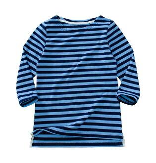 ☆傑媽童裝☆新疆厚棉千趣會條紋款女大人七分袖上衣-藍條【74945-4】