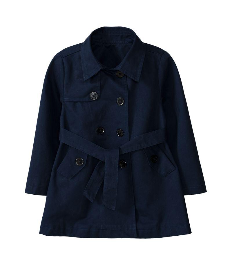 童裝 現貨 小女生有內裡風衣外套-深藍色【80988】