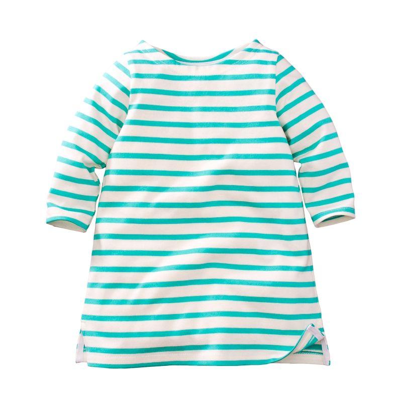 ☆傑媽童裝☆女童新疆厚棉條紋七分袖休閒洋裝/長版上衣-綠白條【97953-3】