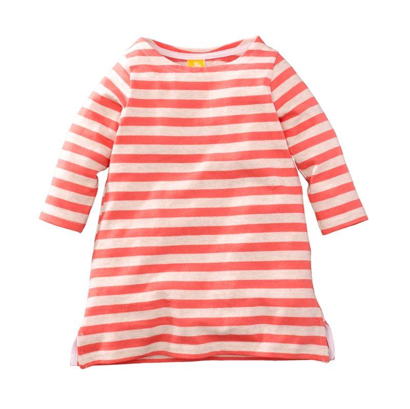 ☆傑媽童裝☆女童新疆厚棉條紋七分袖休閒洋裝/長版上衣-橘紅條【97953-4】