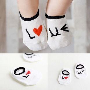 ☆傑媽童裝☆小寶寶我愛小童白色襪子-腳長11-12cm【A30】