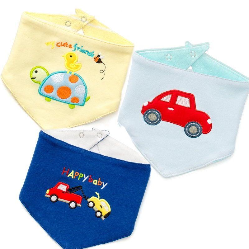 ☆傑媽童裝☆ 雙面純棉三角巾圍兜3件組-烏龜車車組【B10-1】