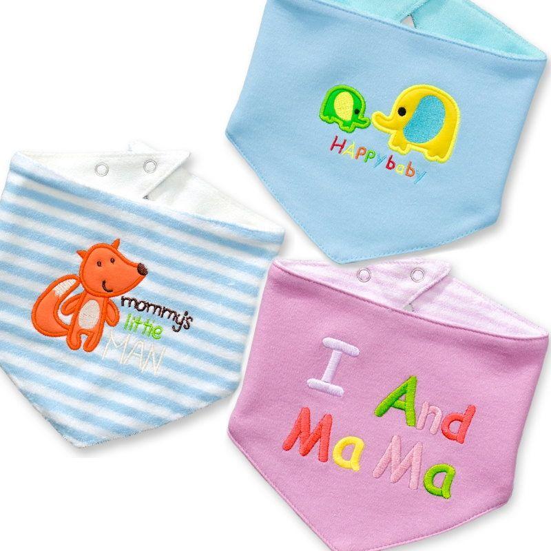 ~傑媽 ~ 雙面純棉三角巾圍兜3件組~動物愛媽媽組~B10~3~