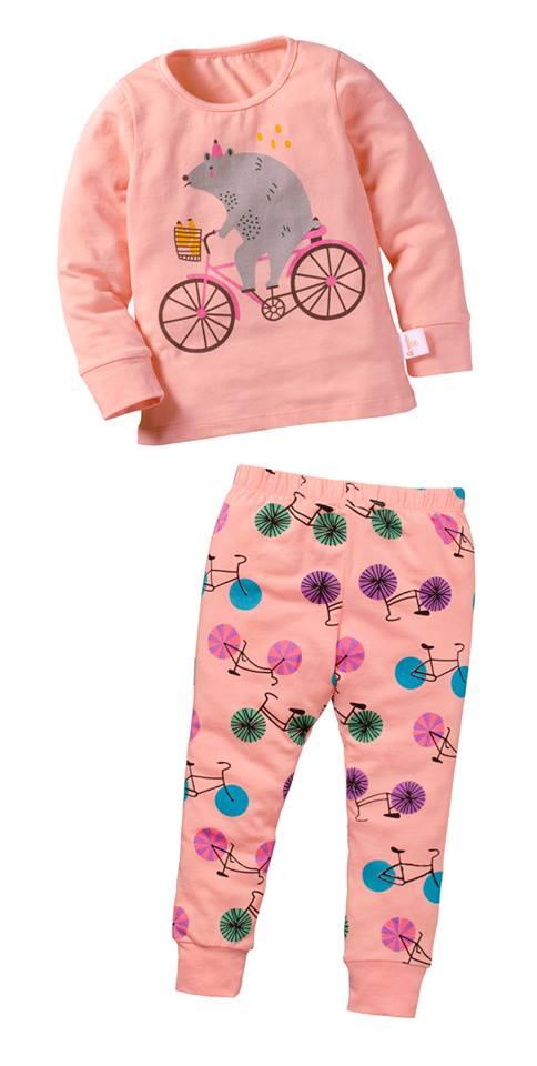 ☆傑媽童裝☆純棉拉架居家休閒服-淺橘刺蝟腳踏車【71006-3】