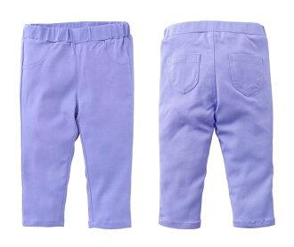 ☆傑媽童裝☆馬卡龍亮色系彈性合身七分褲-紫色【97009-2】