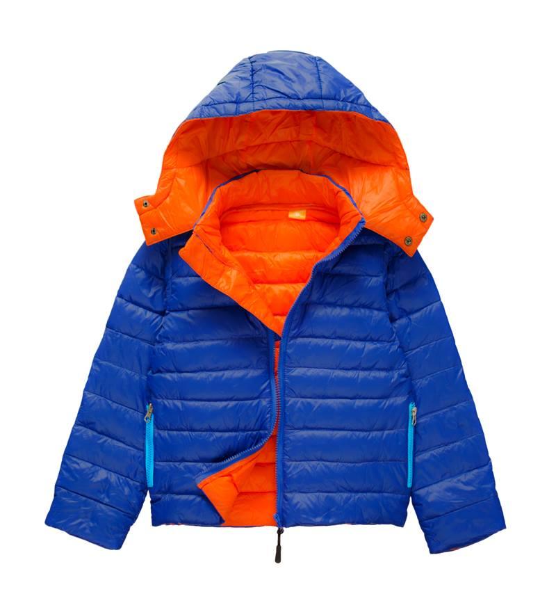 ☆傑媽童裝☆極輕70%羽絨保暖外套-藍+橘【AA005-1】