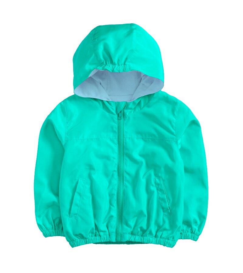 ☆傑媽童裝☆防水防風糖果色有帽外套-粉綠色【14046-2】
