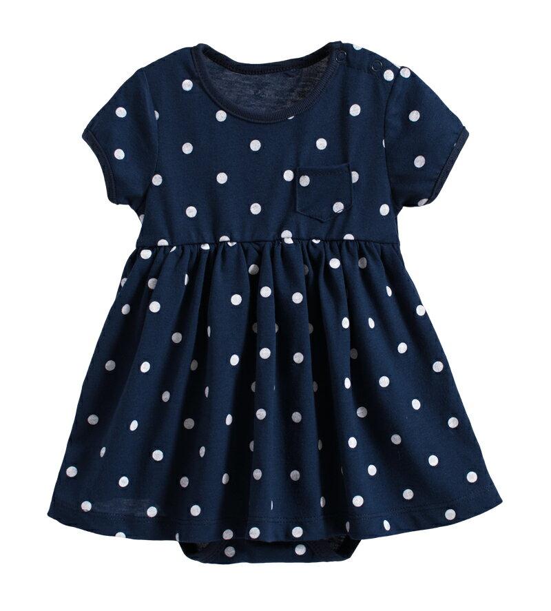 ~傑媽 ~純棉深藍點點口袋裙式連身衣~20062~ ~  好康折扣