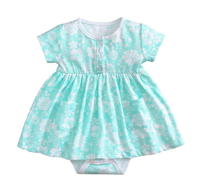 ☆傑媽童裝☆小女生純棉花樣款連身裙-綠底前開扣【54052-3】