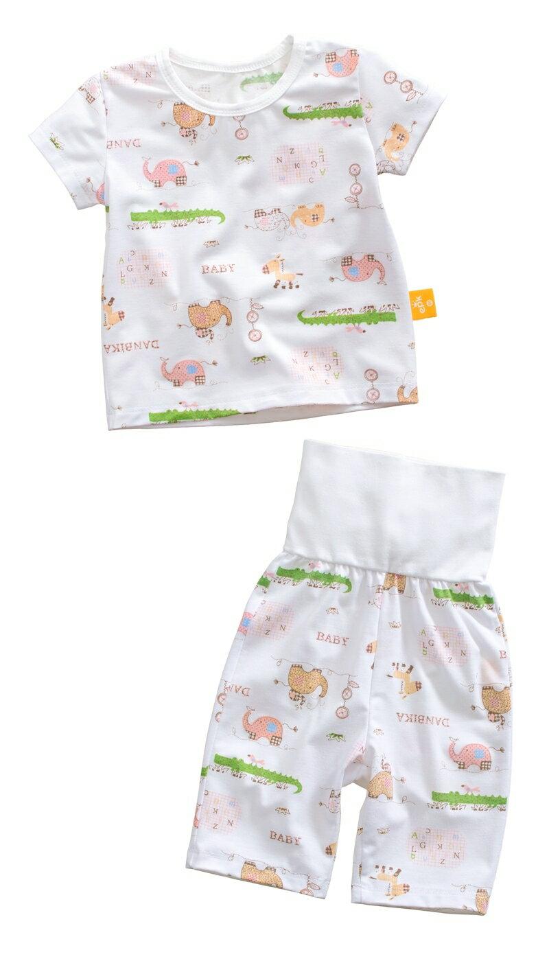 ☆傑媽童裝☆純棉護肚短袖七分褲套裝-格子大象【71031-6】