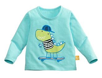 ☆傑媽童裝☆純棉小男生中大童長袖上衣-淺藍底滑板車【10086-6】