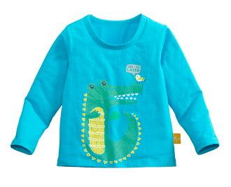 ☆傑媽童裝☆95%棉小男生中大童長袖上衣-中藍底綠鱷魚【10086-8】