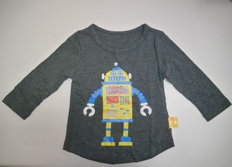 ☆傑媽童裝☆純棉灰黑色黃機器人七分袖上衣【17107】