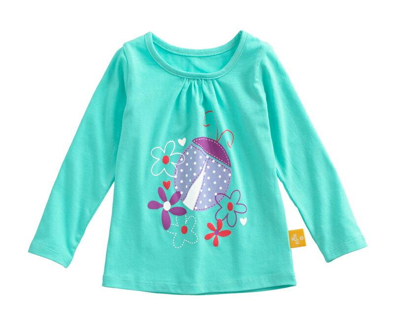 ☆傑媽童裝☆純棉拉架女童長袖上衣-綠底紫瓢蟲【21069-1】