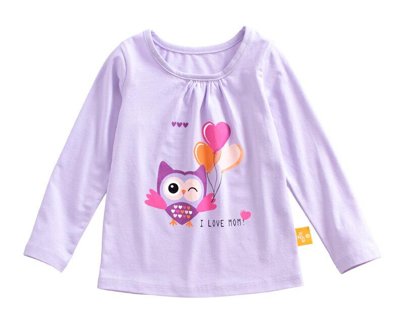 ☆傑媽童裝☆純棉拉架女童長袖上衣-紫底貓頭鷹【21069-2】