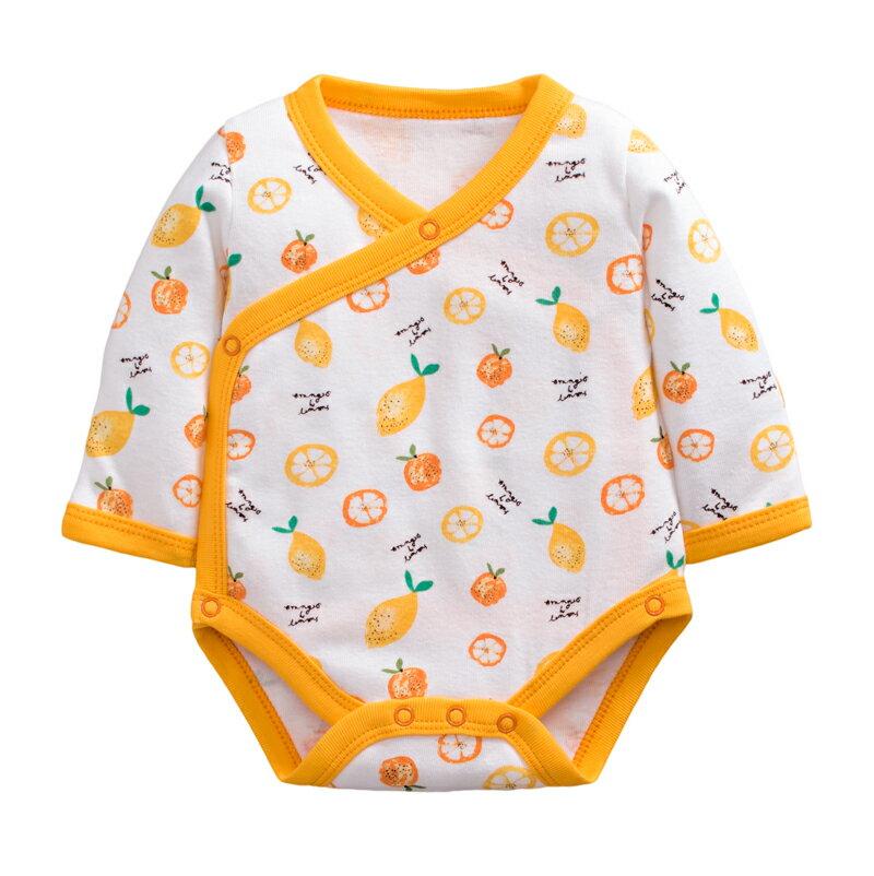 童裝 現貨 純棉羅紋側開包手長袖包屁衣-12款白底黃邊水果【64092】