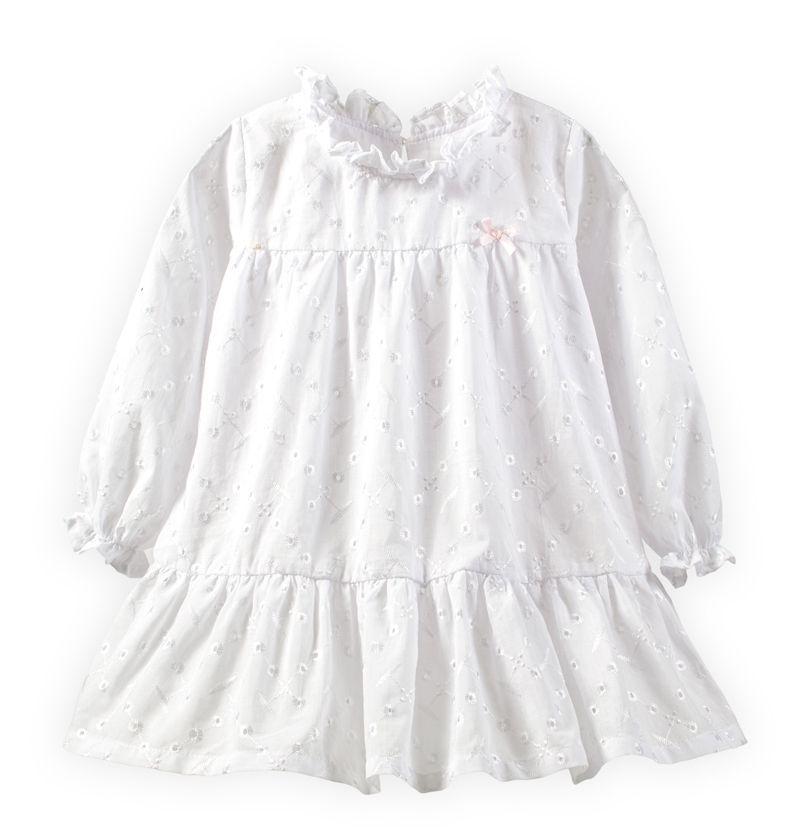 童裝 現貨 素色樓空女童純棉長袖小洋裝-02白色【64096】