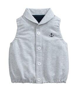 童裝現貨海軍標純棉毛圈有領小背心-灰色【67098】
