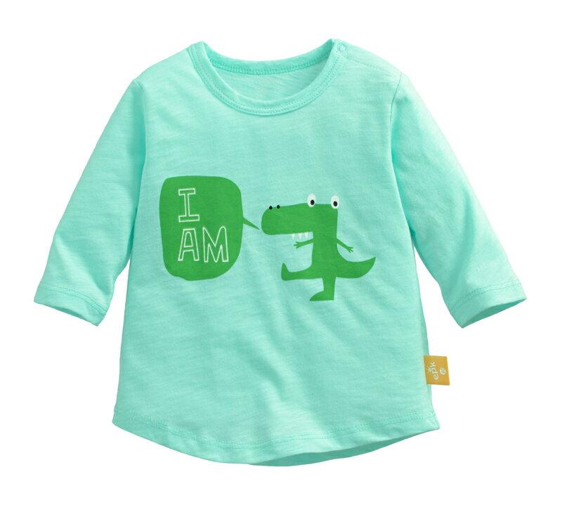☆傑媽童裝☆竹節棉七分袖印花上衣-淺綠底鱷魚【71071-3】