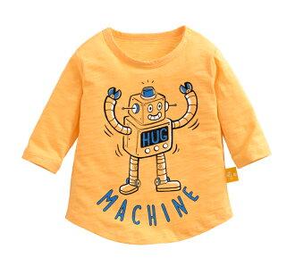 ☆傑媽童裝☆竹節棉七分袖印花上衣-黃底機器人【71071-7】